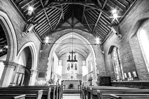 Monochrome Interior view of Nave of Anglican Church
