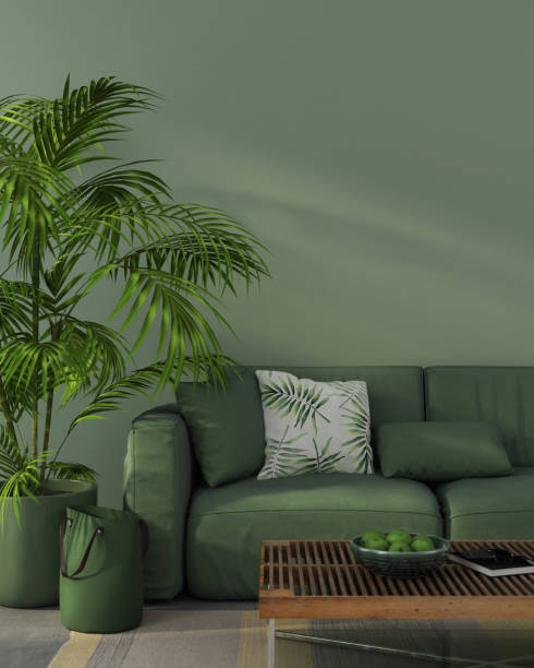 Monochrome interior with green sofa stock photo