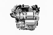 monochrome of modern powerful car engine isolated on white background.