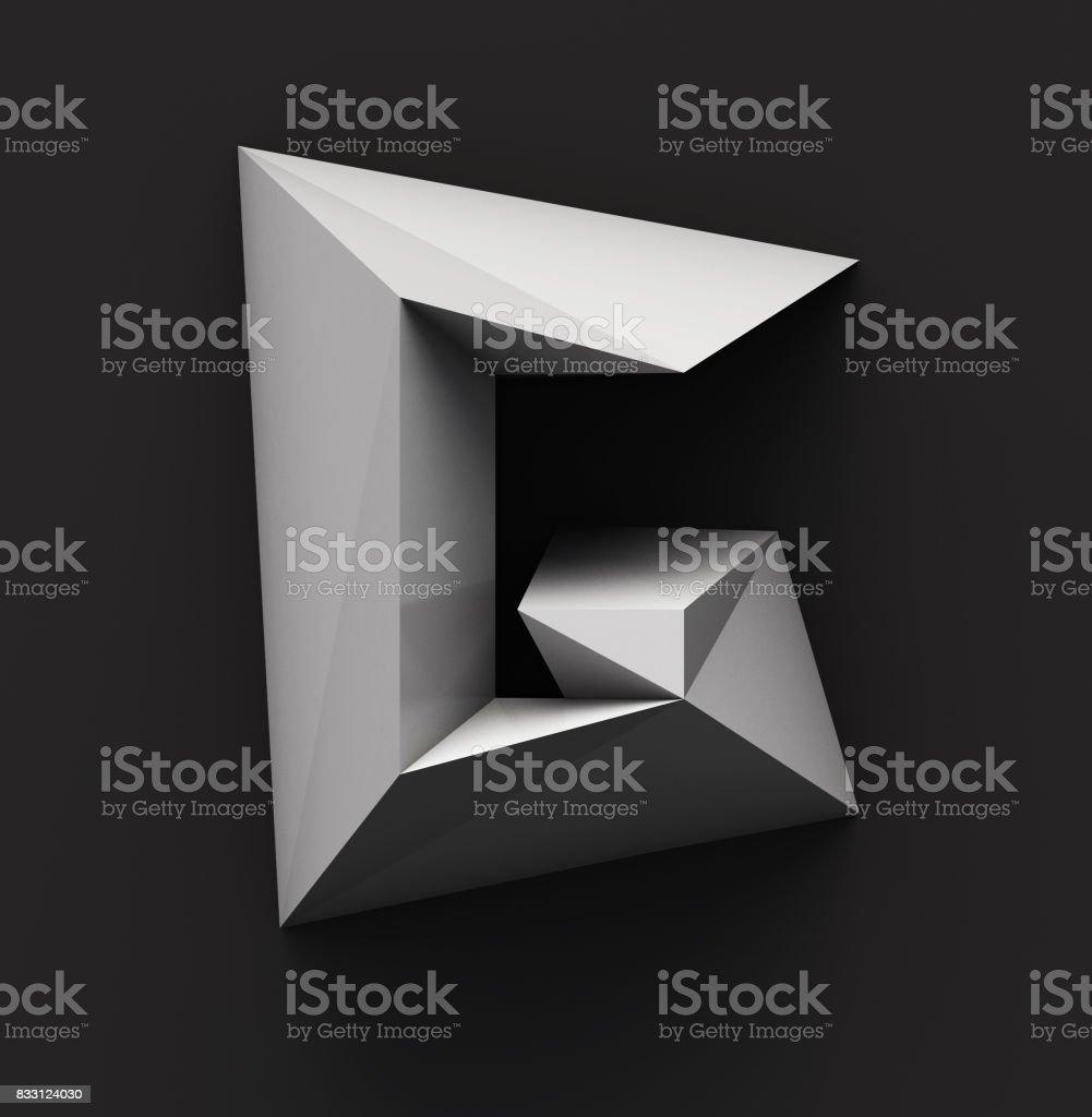 Monochrome Paper Polygonal Font. Logo Concept. Letter G stock photo