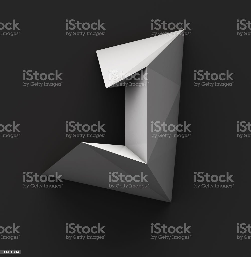 Monochrome Paper Polygonal Font. Logo Concept. Letter J stock photo
