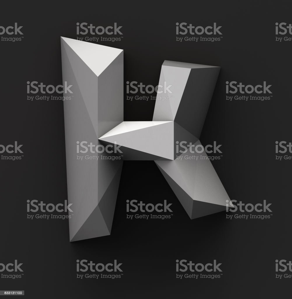Monochrome Paper Polygonal Font. Logo Concept. Letter K Monochrome Paper Polygonal Font on Dark Grey Background. Logo Concept. Letter K. 3d rendering Abstract Stock Photo