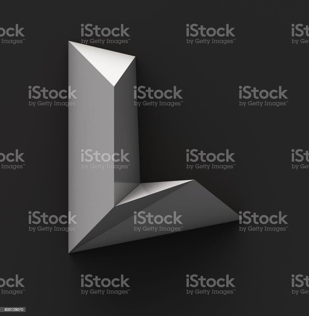 Monochrome Paper Polygonal Font. Logo Concept. Letter L stock photo