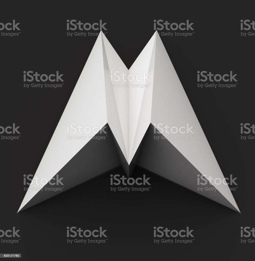 Monochrome Papier polygonalen Schriftart. Logokonzept. Buchstabe M – Foto