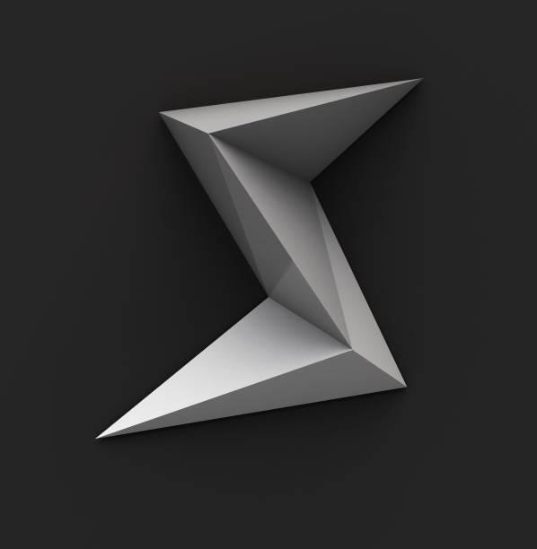 zwart-wit papier veelhoekige lettertype. logo concept. letter s - s stockfoto's en -beelden