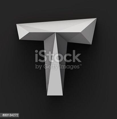 istock Monochrome Paper Polygonal Font. Logo Concept. Letter T 833134272
