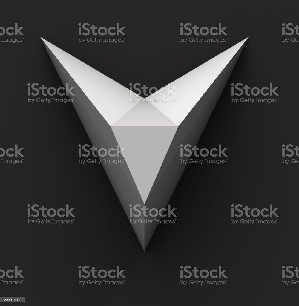 Papel monocromático Fuente poligonal. Concepto de logotipo. Letra V - foto de stock