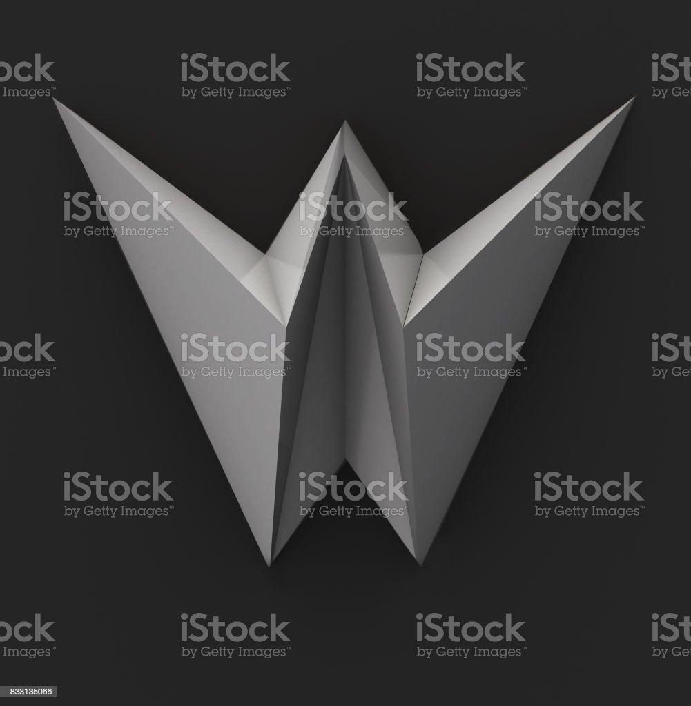 Monochrome Paper Polygonal Font. Logo Concept. Letter W stock photo
