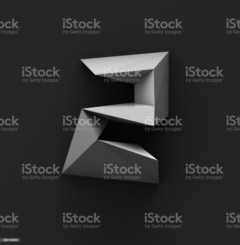 Monochrome Paper Polygonal Font. Logo Concept. Number 2 stock photo