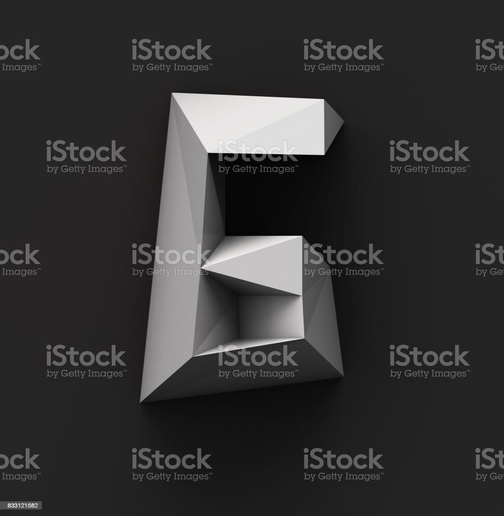 Monochrome Paper Polygonal Font. Logo Concept. Number 6 stock photo