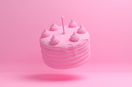 Monochrome pink image with a flying birthday cake on a solid background. 3D illustration