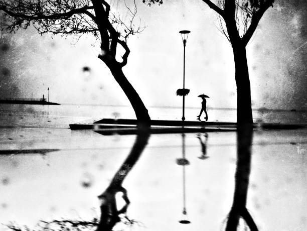 Monochrome reflection view of a man walking in the rain