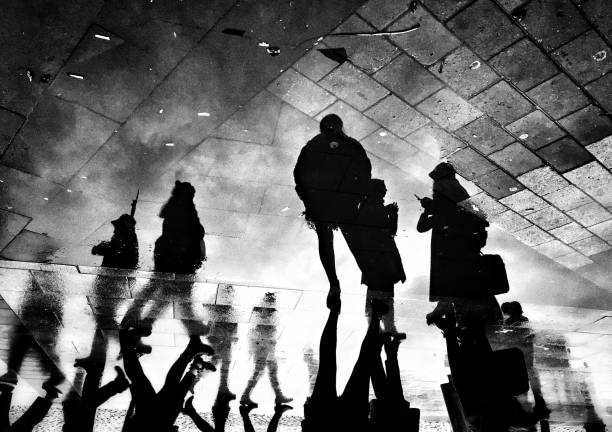 Monochrome reflection view of the people on the street
