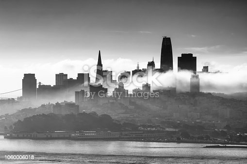Downtown skyline of San Francisco in the morning with low clouds. California. United States