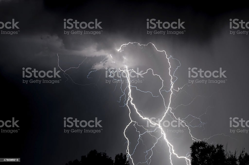 Monochrome Spaghetti Lightning stock photo