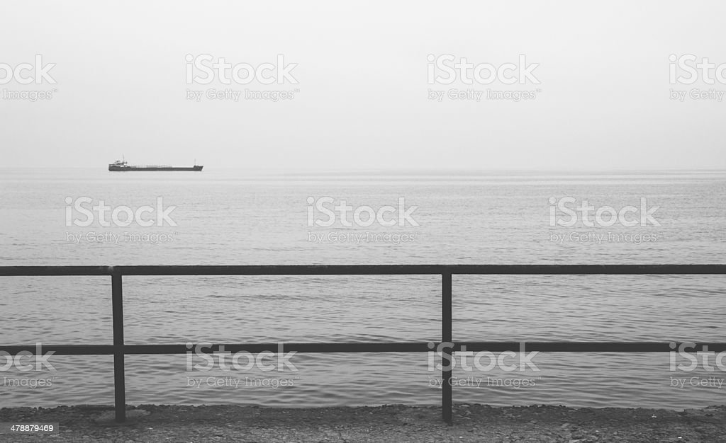Monochrome view of industrial ship in the Black sea, Crimea royalty-free stock photo