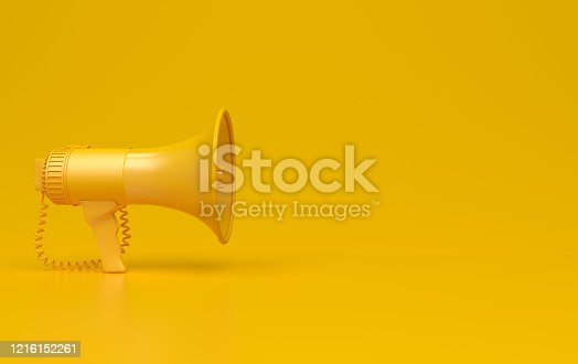 istock Monochrome yellow single megaphone. Loudspeakers on a yellow background. Conceptual illustration with copy space. 3D render. 1216152261