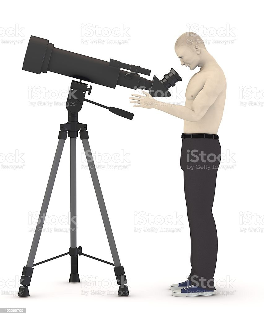 monocular with cartoon character stock photo
