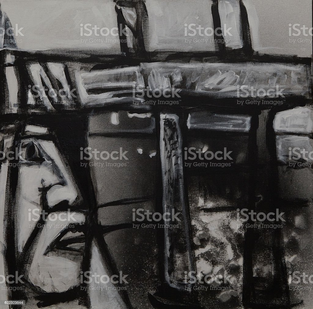 monoface 2 (abstract painting of person by a manmade structure) stock photo
