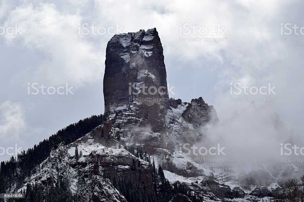 Monolith in Clouds stock photo