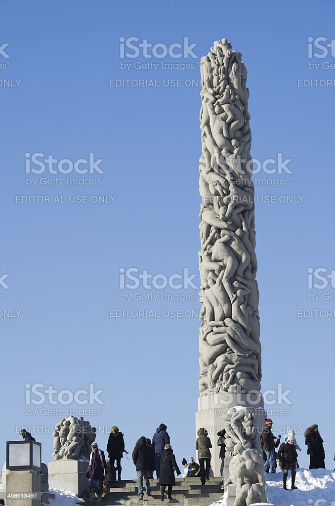 Monolith in Vigeland Park stock photo