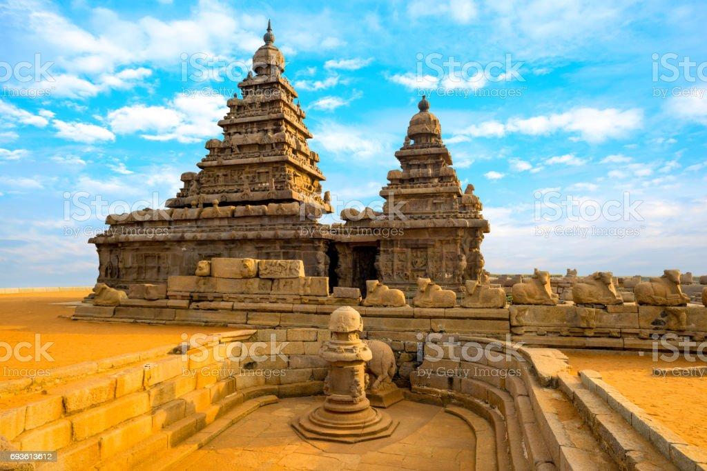 monolithic famous Shore Temple near Mahabalipuram, world heritage site in Tamil Nadu, India stock photo