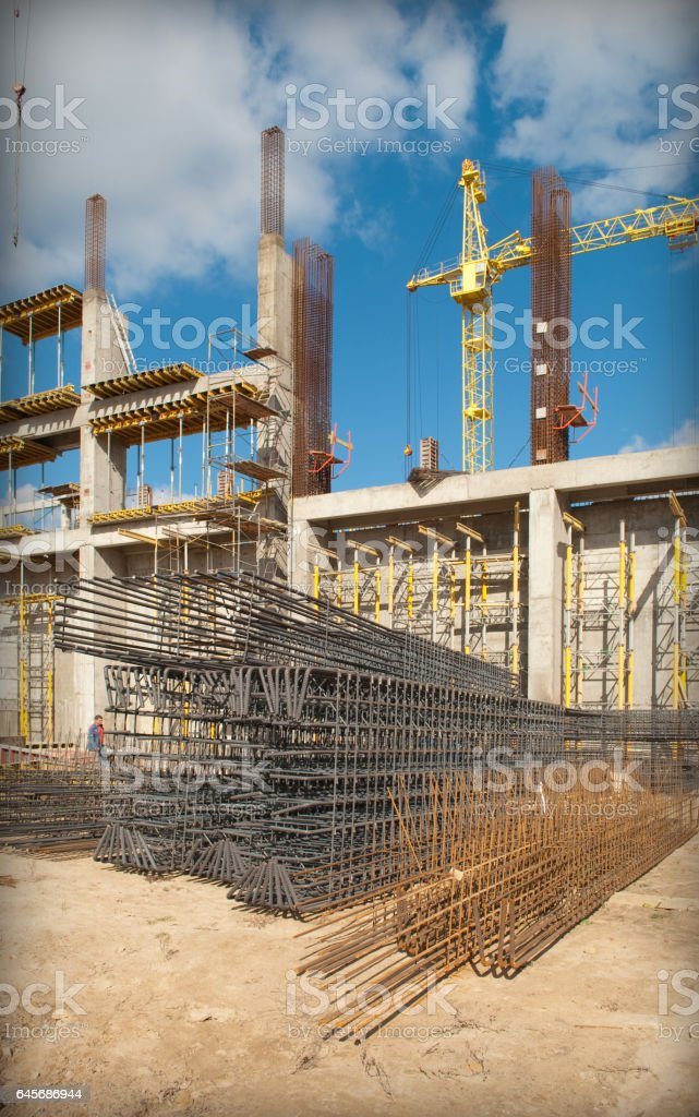 Monolithic frame construction of the building stock photo