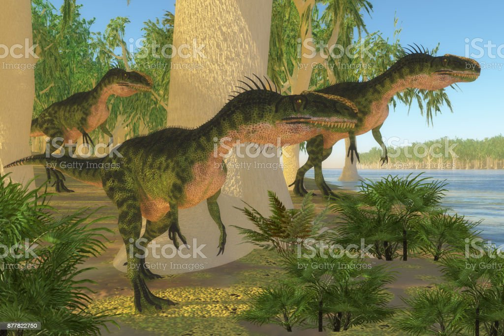 Monolophosaurus Dinosaurs stock photo