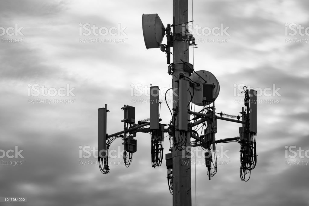 Monopole Cell Tower With Bass Drums Stock Photo - Download