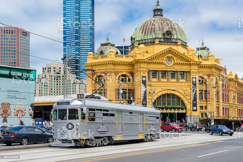 Monopoly Art Tram and Flinders Street Railway Station in Melbourne stock photo