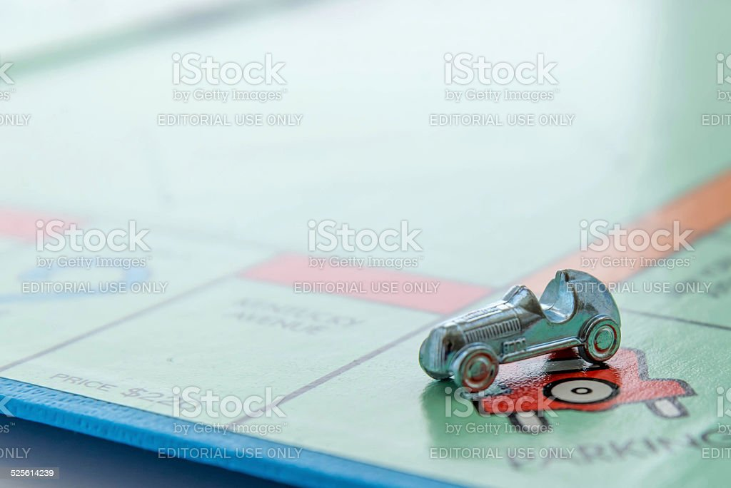 Monopoly board game - car on Free Parking stock photo