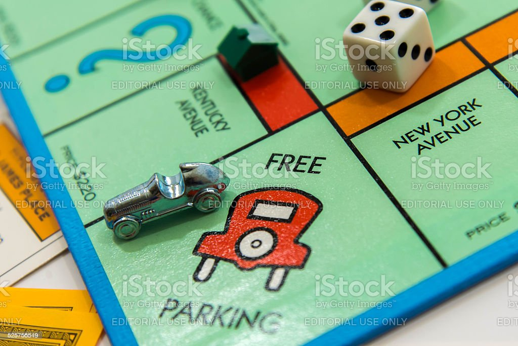Monopoly Board Game Car On Free Parking Stock Photo - Download Image