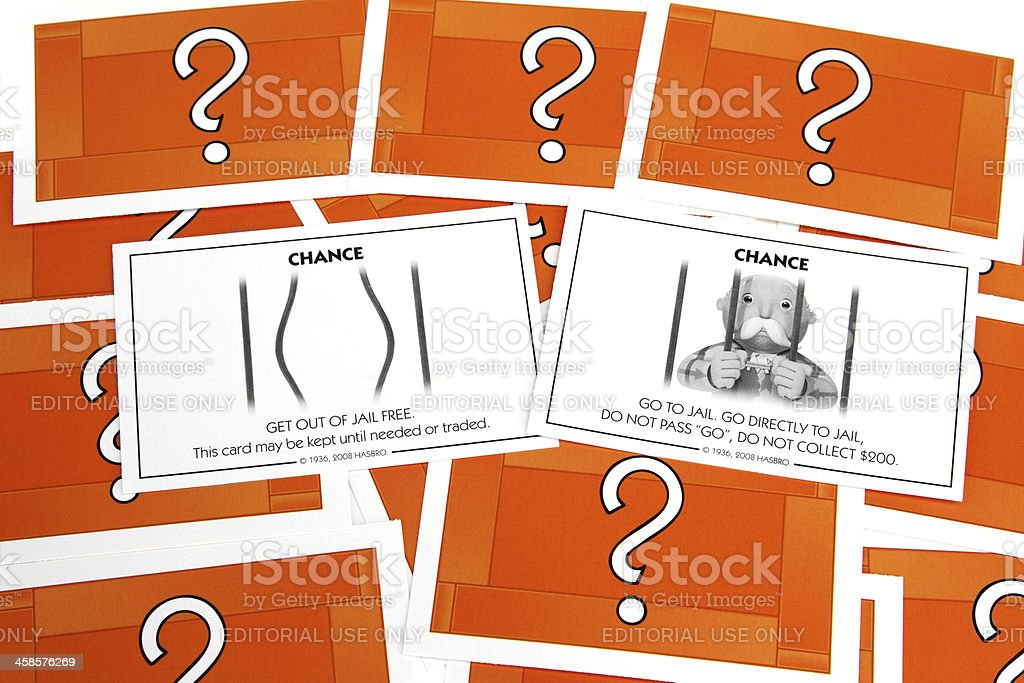 Monopoly Chance cards royalty-free stock photo