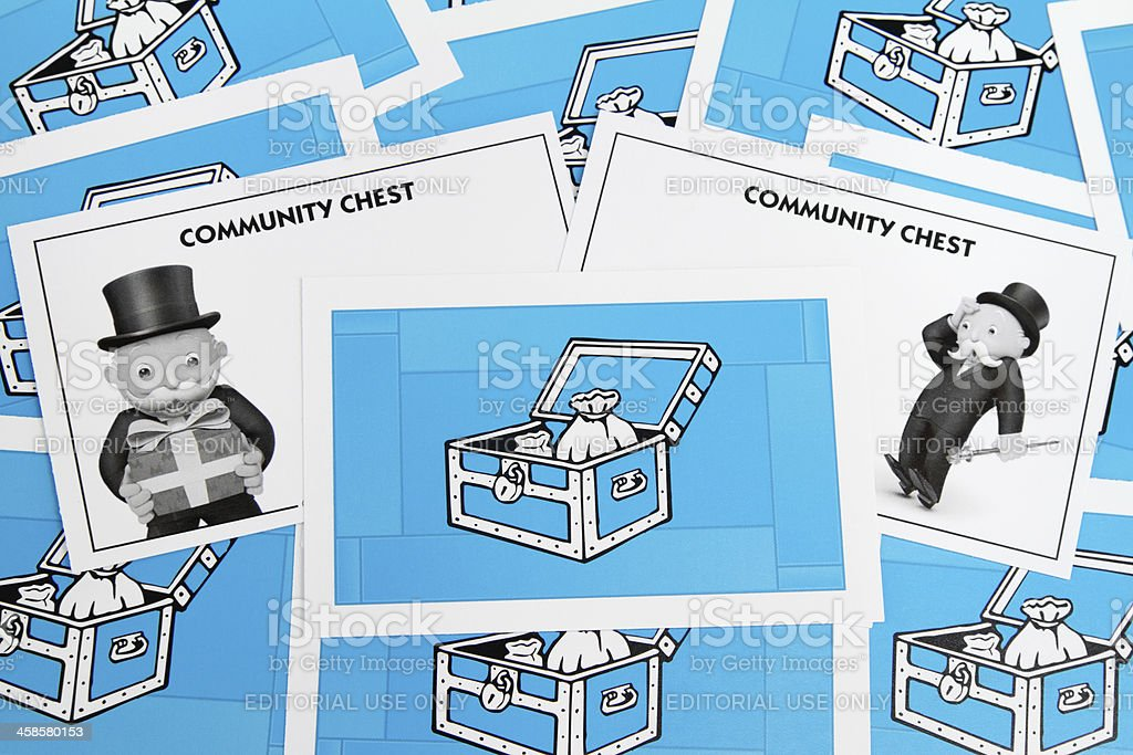 Monopoly Community Chest cards stock photo