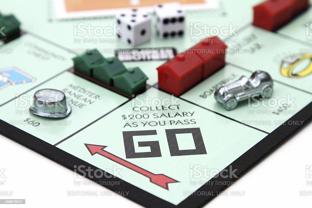 Monopoly game Go square stock photo