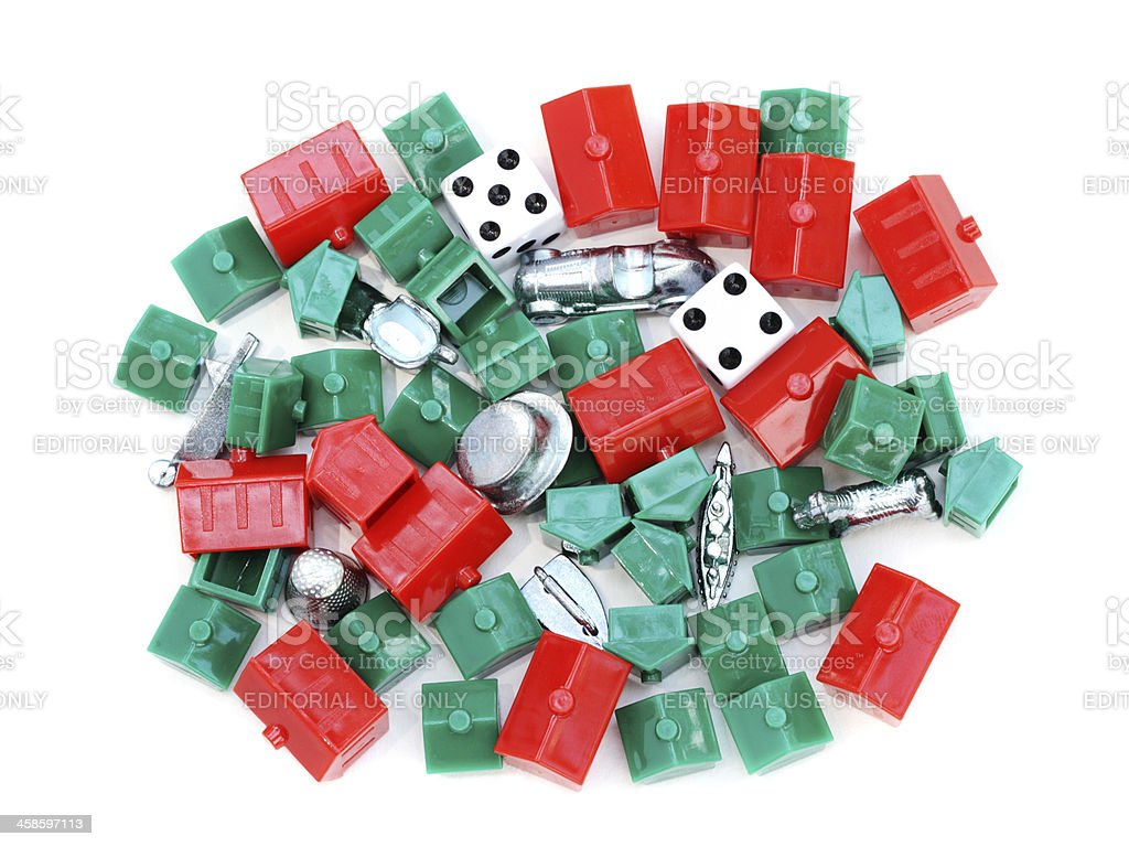Monopoly game pieces royalty-free stock photo
