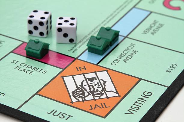 Monopoly game with Jail corner stock photo