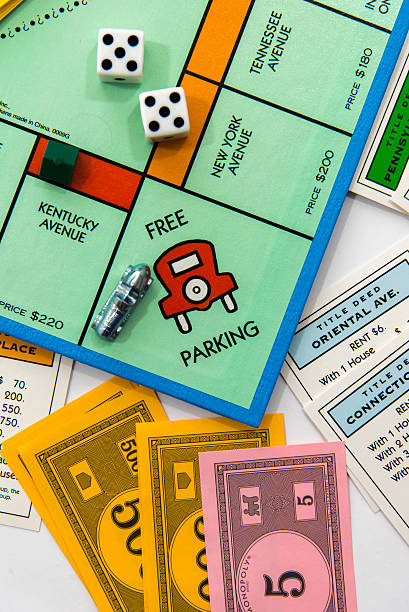 Monopoly in play - view from Free Parking with car stock photo