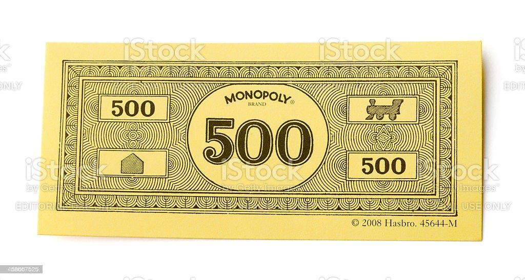 Monopoly Money 500 Dollar Bill stock photo