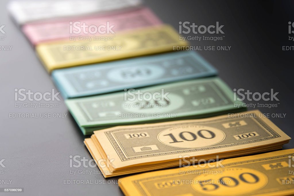 Monopoly  -  money lined up stock photo