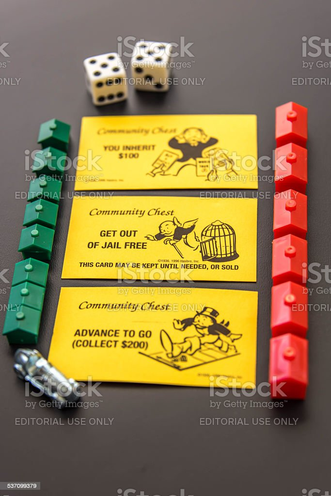 Monopoly - playing pieces and Community Chest cards stock photo