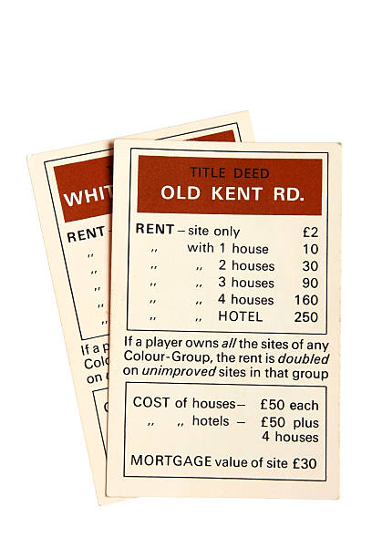 monopoly property cards - old kent road - old kent road stock photos and pictures