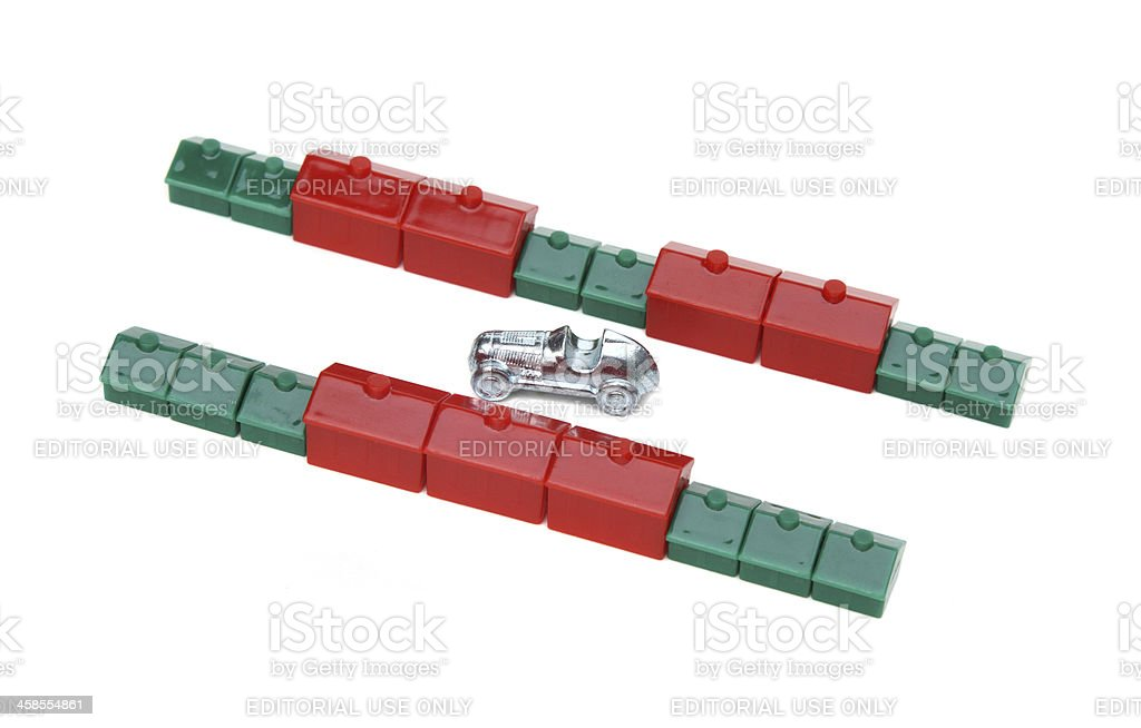 Monopoly property game pieces stock photo