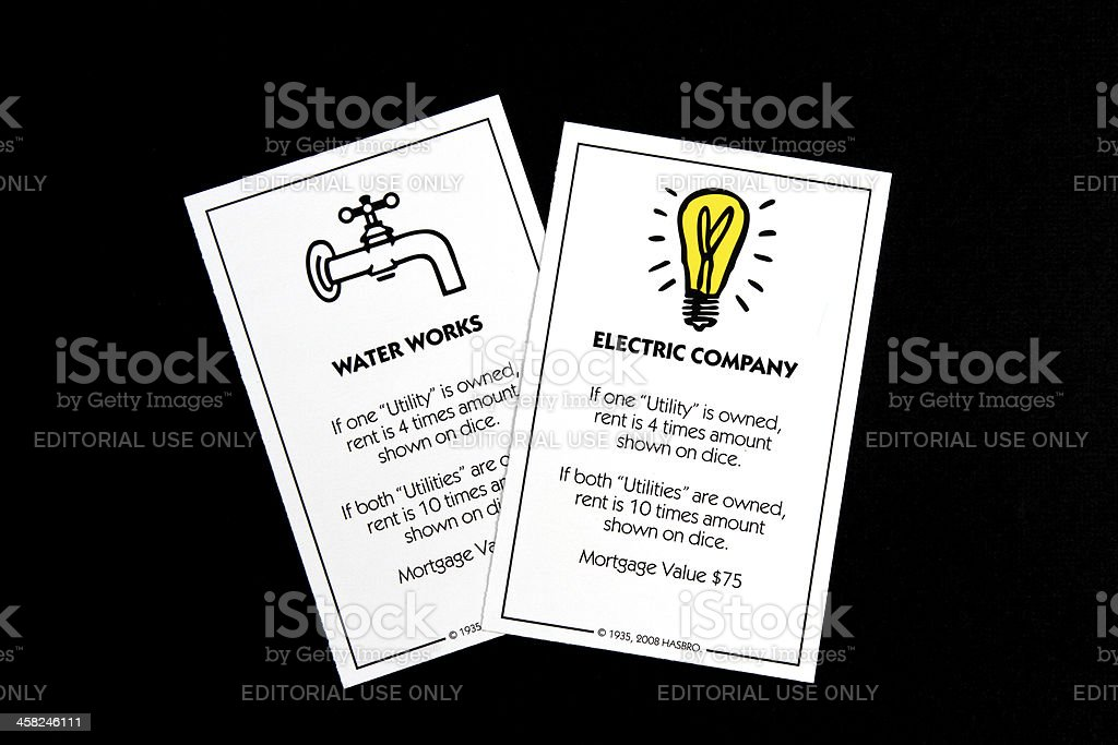 Monopoly Utility Company game cards royalty-free stock photo
