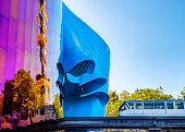 Monorail and Museum of Pop Culture, Seattle - August 26, 2019: iconic architecture of Seattle.