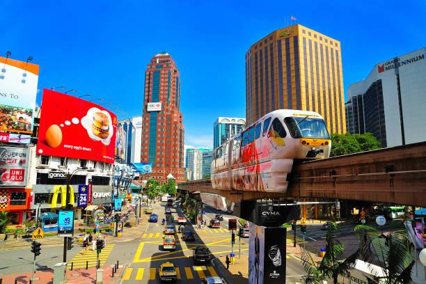 모노레일 부 킷 빈 탕 거리, 쿠알라룸푸르, 말레이시아에서. - 쿠알라룸푸르 뉴스 사진 이미지