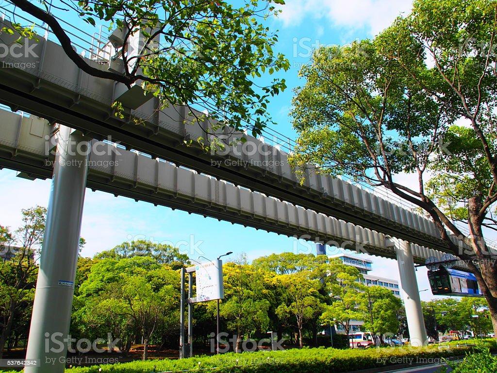 Monorail leaving Chiba City Hall stock photo