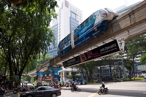 monorotaia treno passa una vivace incrocio - windows 7 foto e immagini stock