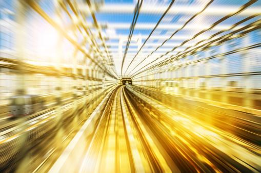 Monorail tunnel blurred