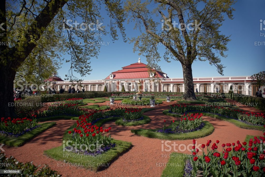 Monplaisir Palace In Peterhof St Petersburg Russia Stock